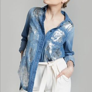 Rachel Roy foil wrapped denim shirt